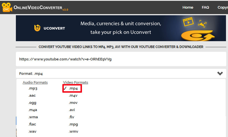 Convert Link to MP4 with Online Video Converter 1