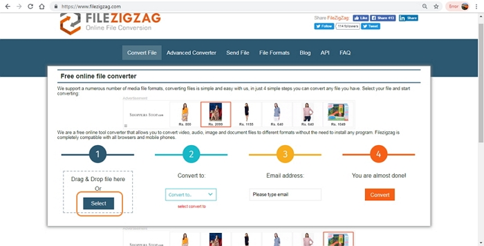 convert MP4 to JPG using FileZigZag step 1