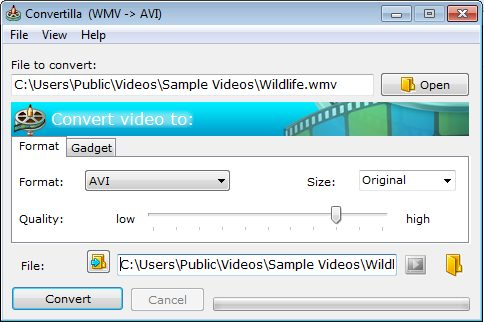 converteer gratis wmv naar avi
