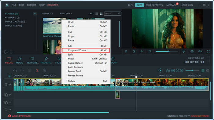 crop mp4 with Filmora Video Editor