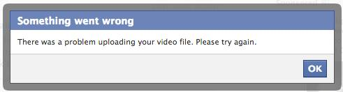 can t upload video to facebook