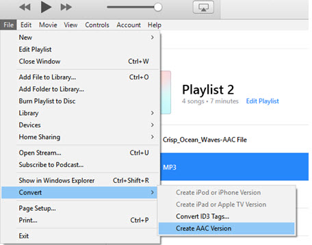 mp3 to aac itunes