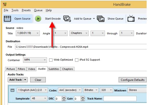 make an MP4 file smaller using Handbrake step 5