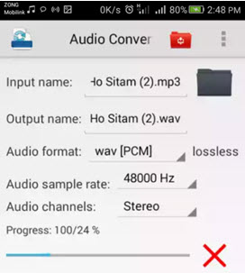 convert aac to mp3 android