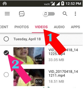 send large video on android using Send Anywhere