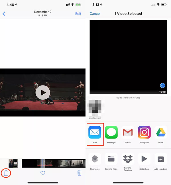 How to Send Long Videos from iPhone using iCloud step 1