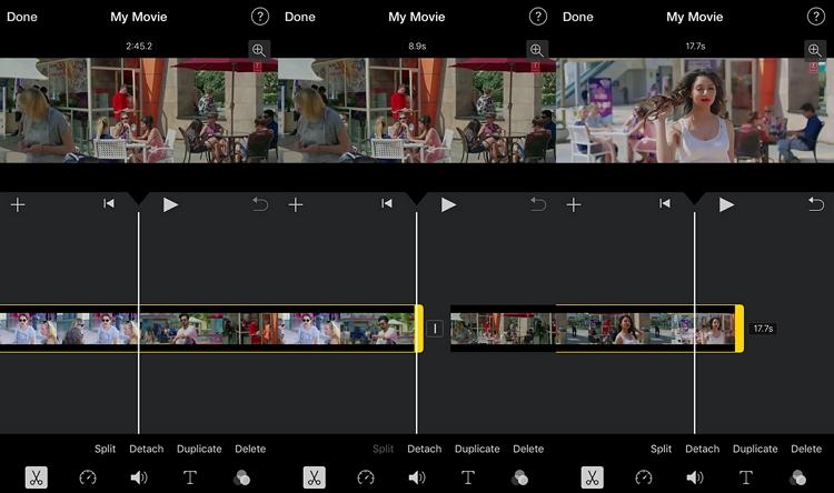 Shorten Video on iPhone using iMovie step 2