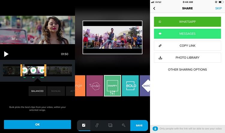 Shorten Video on iPhone using Quik app step 5