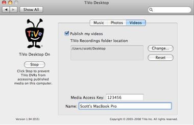 transfer videos from mac to tivo