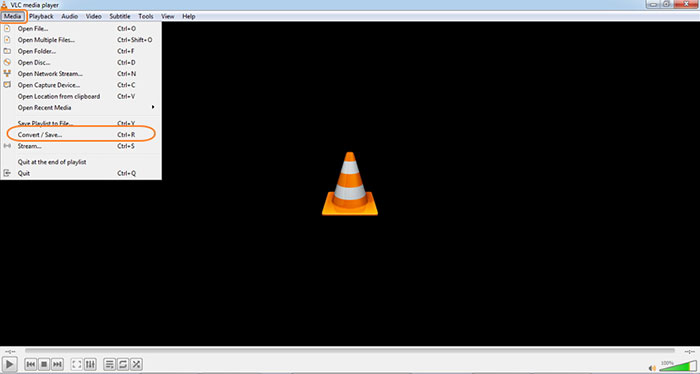 Open VLC Media player to compress video