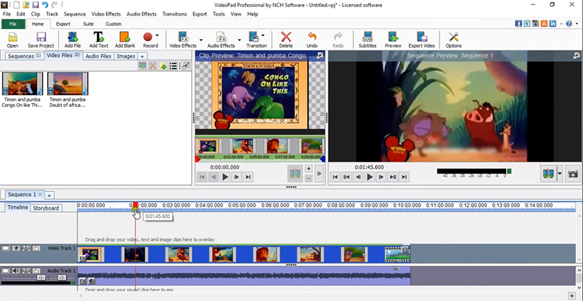 VPJ to MP4 in VideoPad Video Editor