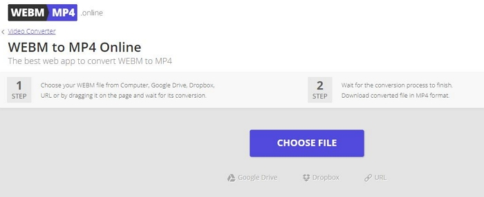 WEBM to MP4 using WEBM to MP4 Online