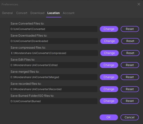 hd video converter location preferences