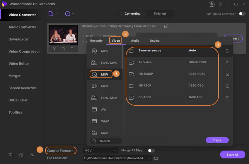convertire i video utilizzando UniConverter per Windows